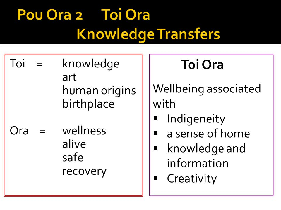 Toi = knowledge art human origins birthplace Ora =wellness alive safe recovery Toi Ora Wellbeing associated with  Indigeneity  a sense of home  knowledge and information  Creativity