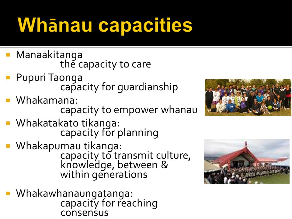  Manaakitanga the capacity to care  Pupuri Taonga capacity for guardianship  Whakamana: capacity to empower whanau  Whakatakato tikanga: capacity for planning  Whakapumau tikanga: capacity to transmit culture, knowledge, between & within generations  Whakawhanaungatanga: capacity for reaching consensus