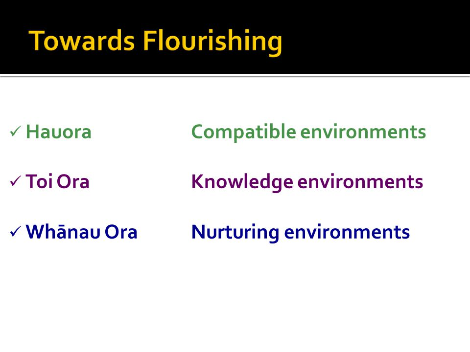 HauoraCompatible environments Toi OraKnowledge environments Whānau OraNurturing environments