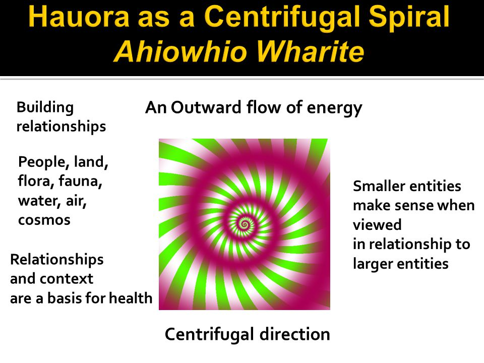 Building relationships An Outward flow of energy People, land, flora, fauna, water, air, cosmos Centrifugal direction Relationships and context are a basis for health Smaller entities make sense when viewed in relationship to larger entities