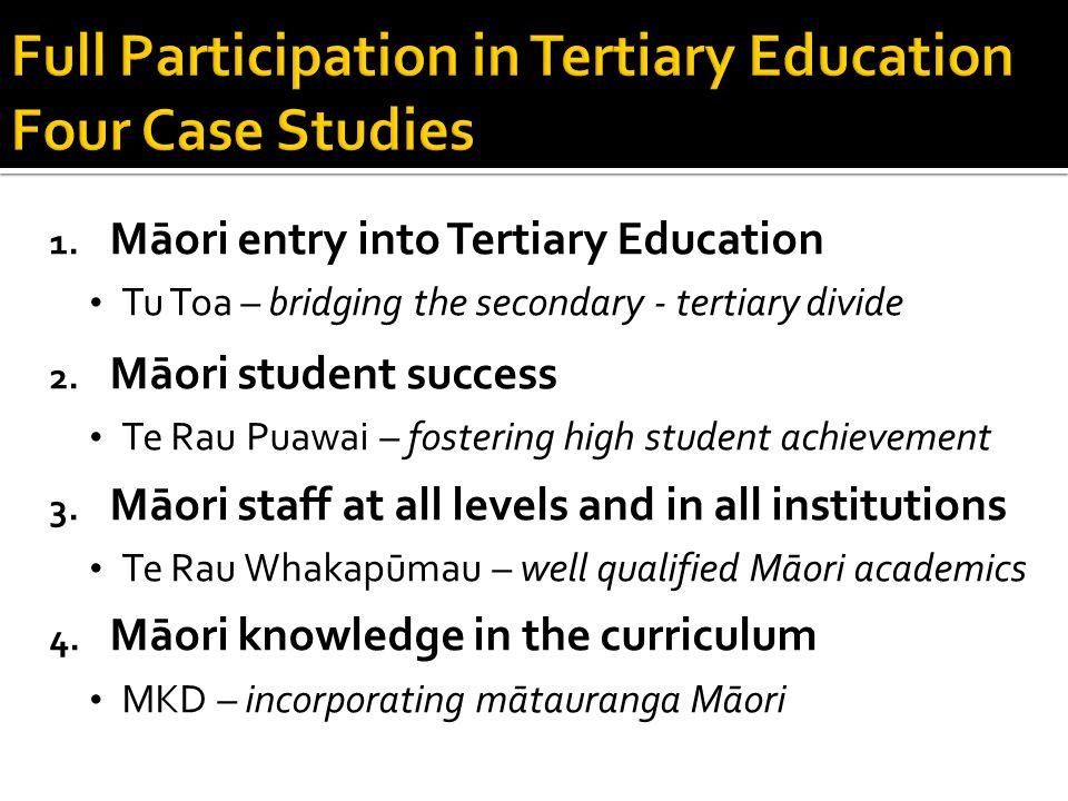 1. Māori entry into Tertiary Education Tu Toa – bridging the secondary - tertiary divide 2.