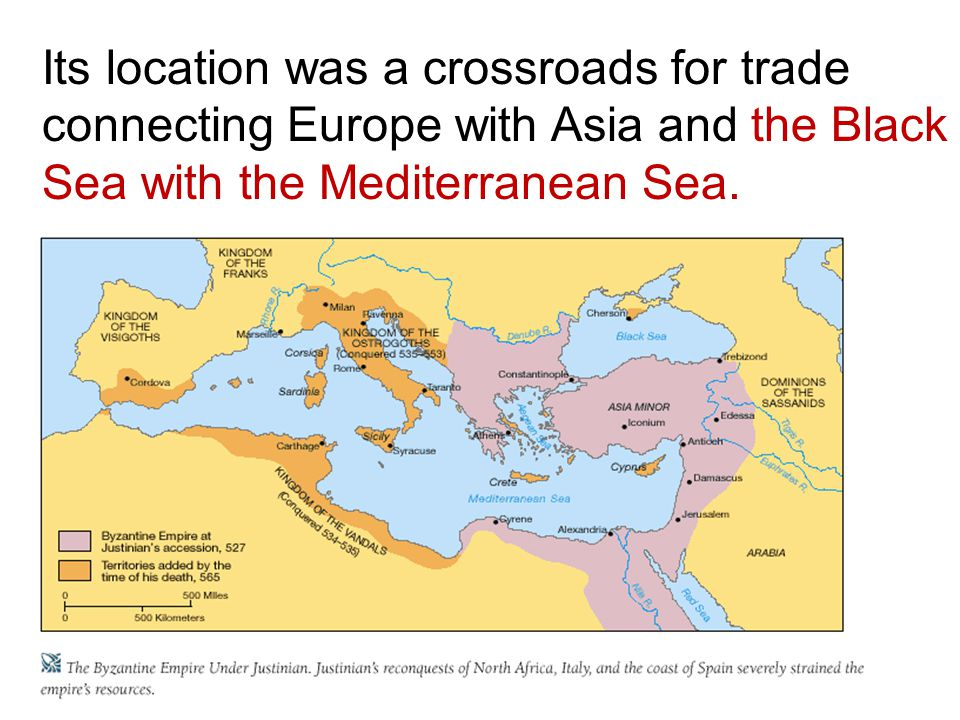 Its location was a crossroads for trade connecting Europe with Asia and the Black Sea with the Mediterranean Sea.