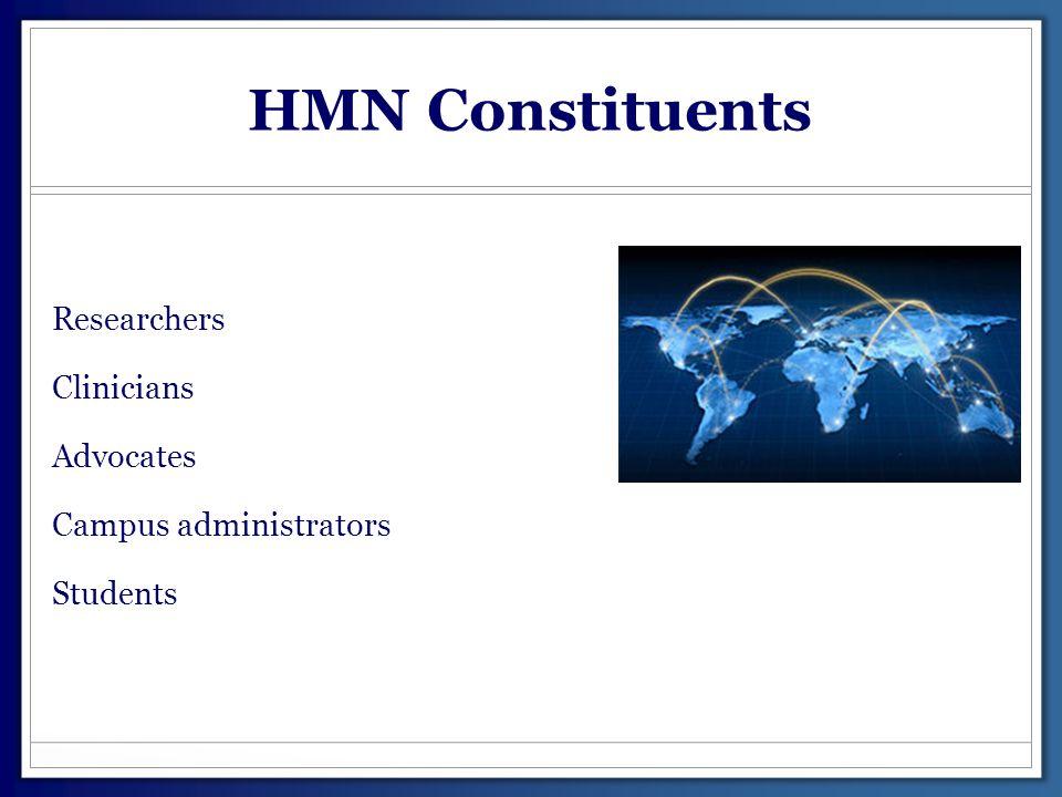 HMN Constituents Researchers Clinicians Advocates Campus administrators Students
