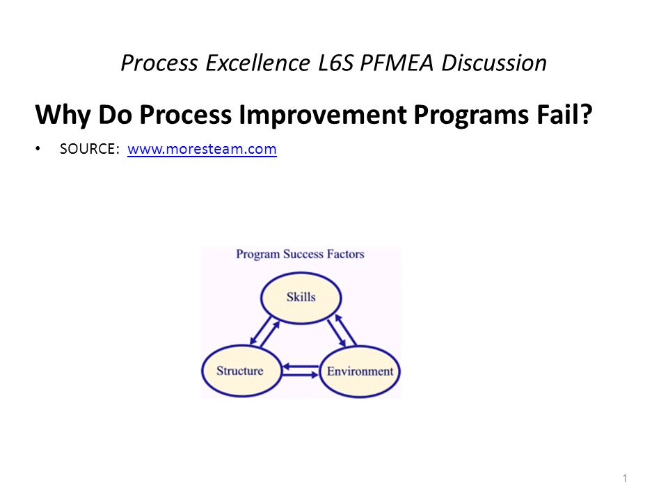 Process Excellence L6S PFMEA Discussion Why Do Process Improvement Programs Fail.