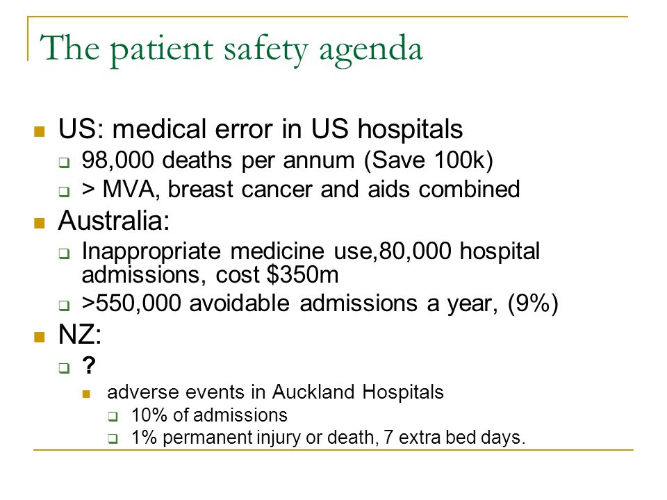 The patient safety agenda US: medical error in US hospitals  98,000 deaths per annum (Save 100k)  > MVA, breast cancer and aids combined Australia:  Inappropriate medicine use,80,000 hospital admissions, cost $350m  >550,000 avoidable admissions a year, (9%) NZ: ?.