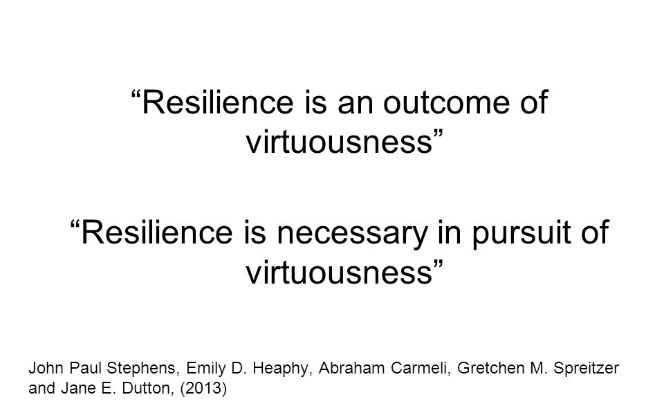 Resilience is an outcome of virtuousness Resilience is necessary in pursuit of virtuousness John Paul Stephens, Emily D.