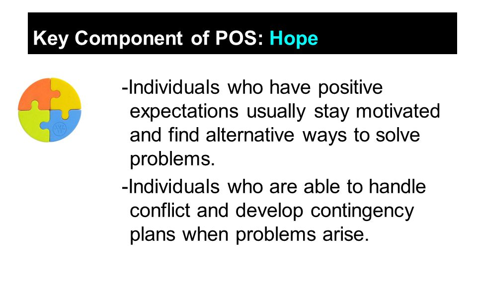 Key Component of POS: Hope -Individuals who have positive expectations usually stay motivated and find alternative ways to solve problems.