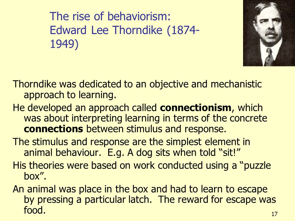 17 The rise of behaviorism: Edward Lee Thorndike (1874- 1949) Thorndike was dedicated to an objective and mechanistic approach to learning. He develop