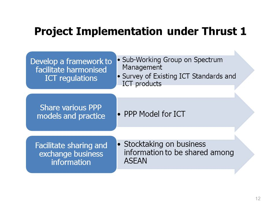 Project Implementation under Thrust 1 Sub-Working Group on Spectrum Management Survey of Existing ICT Standards and ICT products Develop a framework to facilitate harmonised ICT regulations PPP Model for ICT Share various PPP models and practice Stocktaking on business information to be shared among ASEAN Facilitate sharing and exchange business information 12