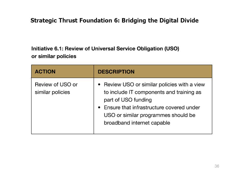36 Strategic Thrust Foundation 6: Bridging the Digital Divide