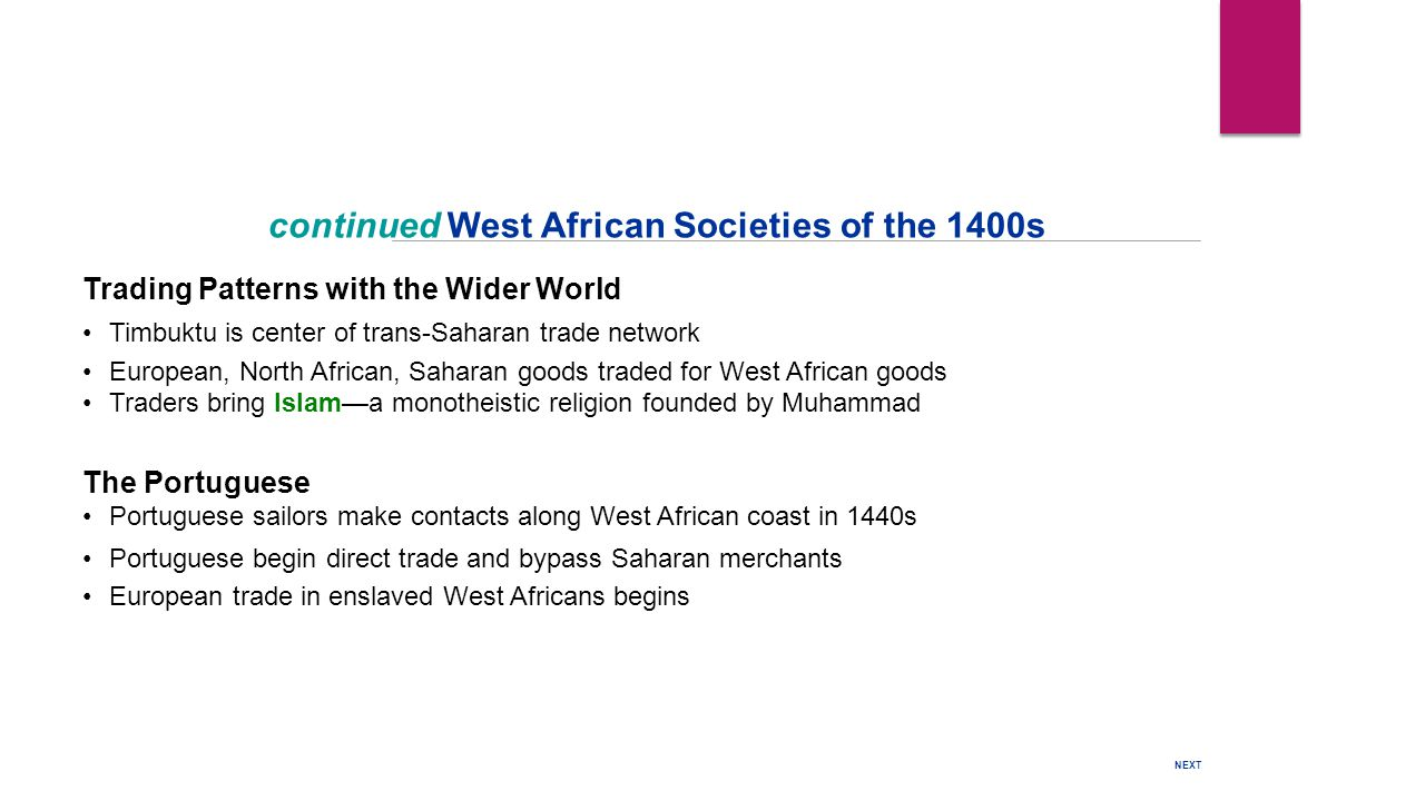 Trading Patterns with the Wider World Timbuktu is center of trans-Saharan trade network European, North African, Saharan goods traded for West African