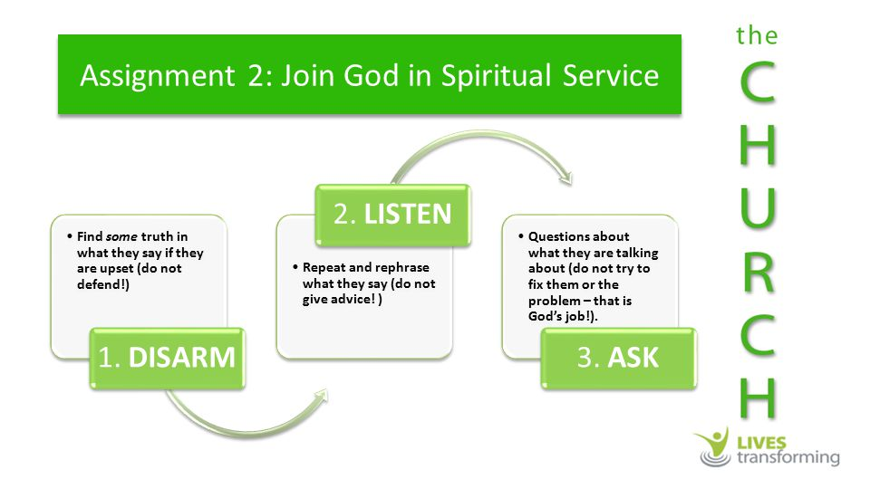 Assignment 2: Join God in Spiritual Service Find some truth in what they say if they are upset (do not defend!) 1.