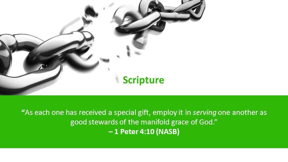 As each one has received a special gift, employ it in serving one another as good stewards of the manifold grace of God. – 1 Peter 4:10 (NASB) Scripture