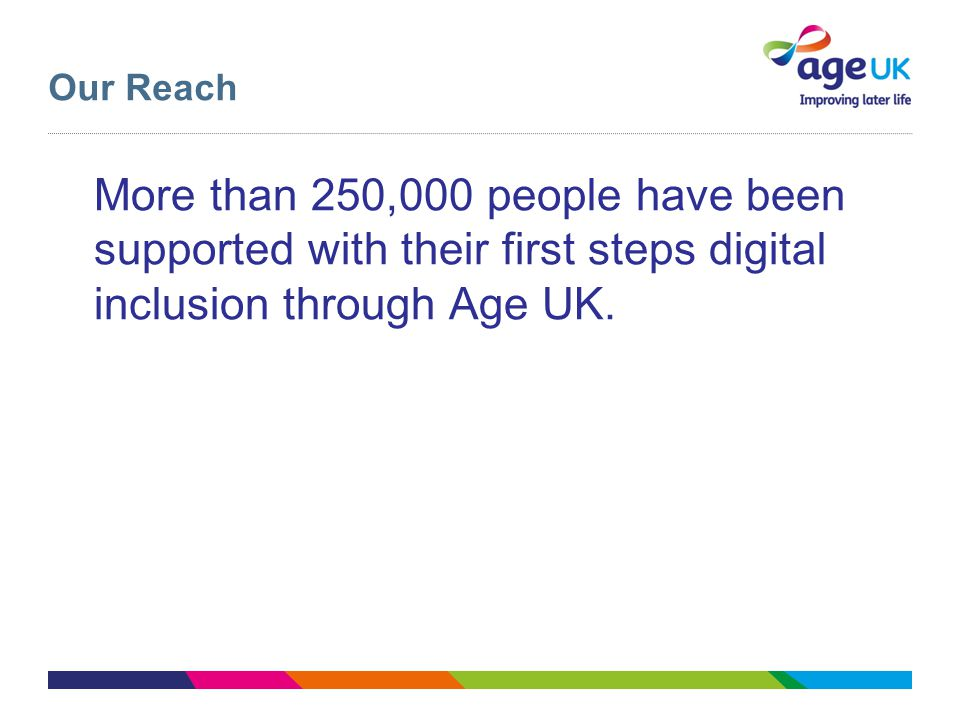 Our Reach More than 250,000 people have been supported with their first steps digital inclusion through Age UK.