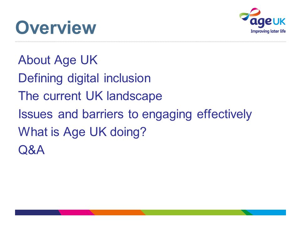 Overview About Age UK Defining digital inclusion The current UK landscape Issues and barriers to engaging effectively What is Age UK doing.