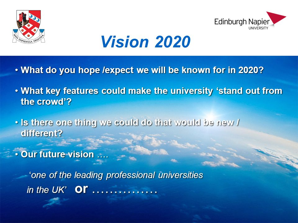 Vision 2020 What do you hope /expect we will be known for in 2020 What do you hope /expect we will be known for in 2020.