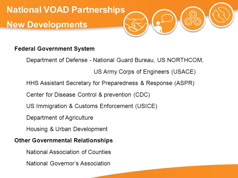 National VOAD Partnerships New Developments Federal Government System Department of Defense - National Guard Bureau, US NORTHCOM, US Army Corps of Engineers (USACE) HHS Assistant Secretary for Preparedness & Response (ASPR) Center for Disease Control & prevention (CDC) US Immigration & Customs Enforcement (USICE) Department of Agriculture Housing & Urban Development Other Governmental Relationships National Association of Counties National Governor's Association