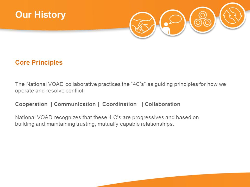 Our History Core Principles The National VOAD collaborative practices the 4C's as guiding principles for how we operate and resolve conflict: Cooperation | Communication | Coordination | Collaboration National VOAD recognizes that these 4 C's are progressives and based on building and maintaining trusting, mutually capable relationships.
