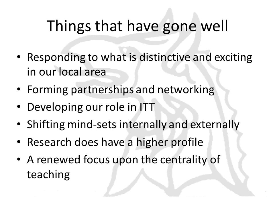 Things that have gone well Responding to what is distinctive and exciting in our local area Forming partnerships and networking Developing our role in