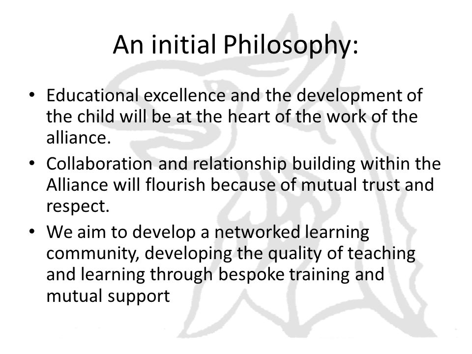 An initial Philosophy: Educational excellence and the development of the child will be at the heart of the work of the alliance.