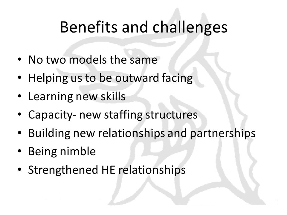 Benefits and challenges No two models the same Helping us to be outward facing Learning new skills Capacity- new staffing structures Building new relationships and partnerships Being nimble Strengthened HE relationships
