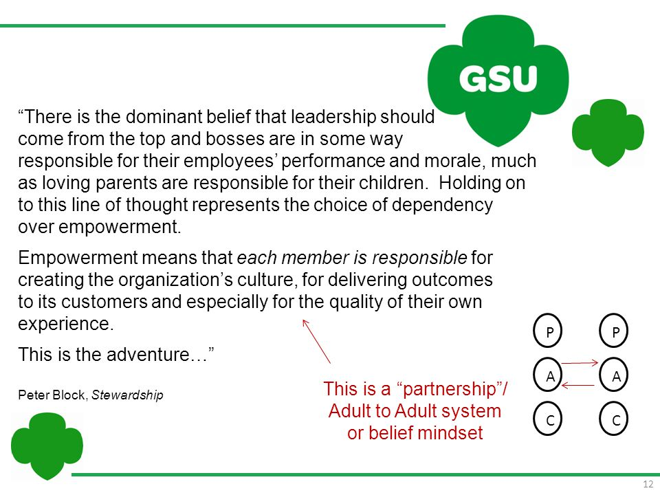 "12 ""There is the dominant belief that leadership should come from the top and bosses are in some way responsible for their employees' performance and"