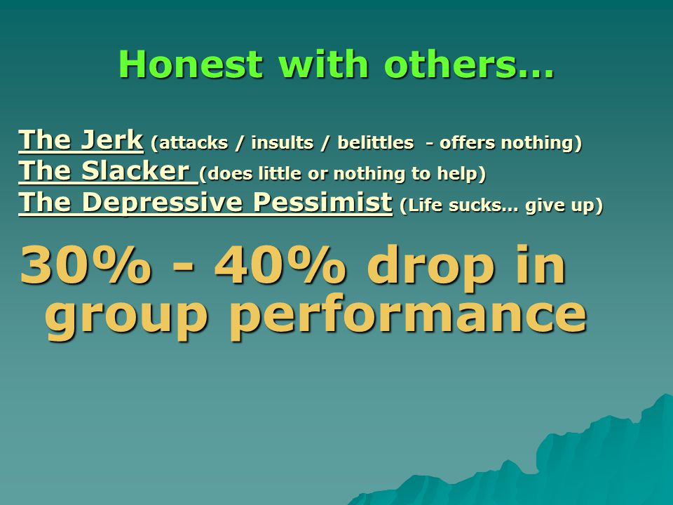 Honest with others… The Jerk (attacks / insults / belittles - offers nothing) The Slacker (does little or nothing to help) The Depressive Pessimist (Life sucks… give up) 30% - 40% drop in group performance