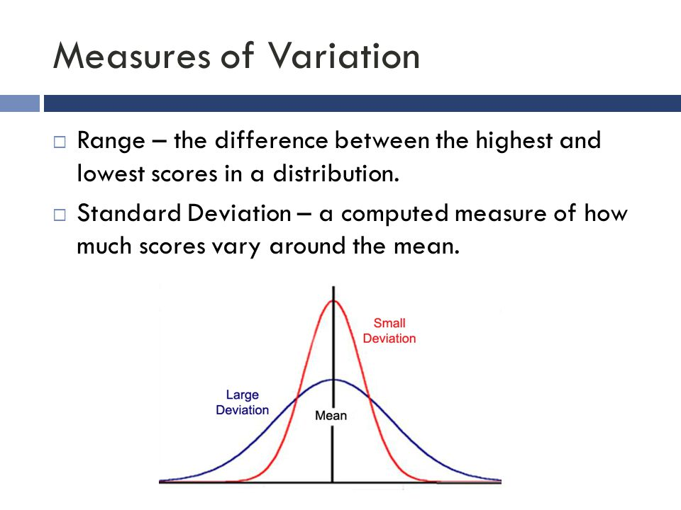 Measures of Variation  Range – the difference between the highest and lowest scores in a distribution.  Standard Deviation – a computed measure of h