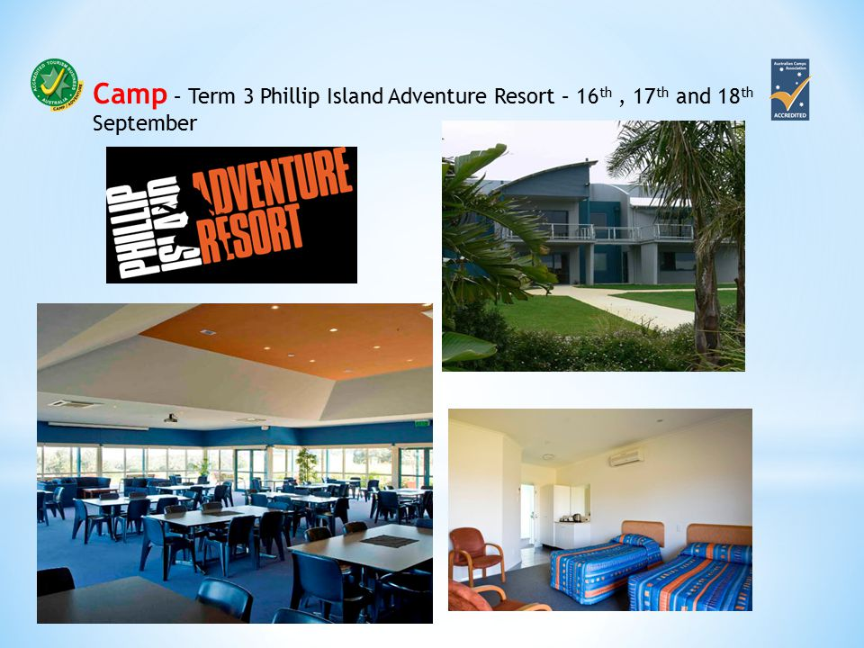Camp – Term 3 Phillip Island Adventure Resort – 16 th, 17 th and 18 th September