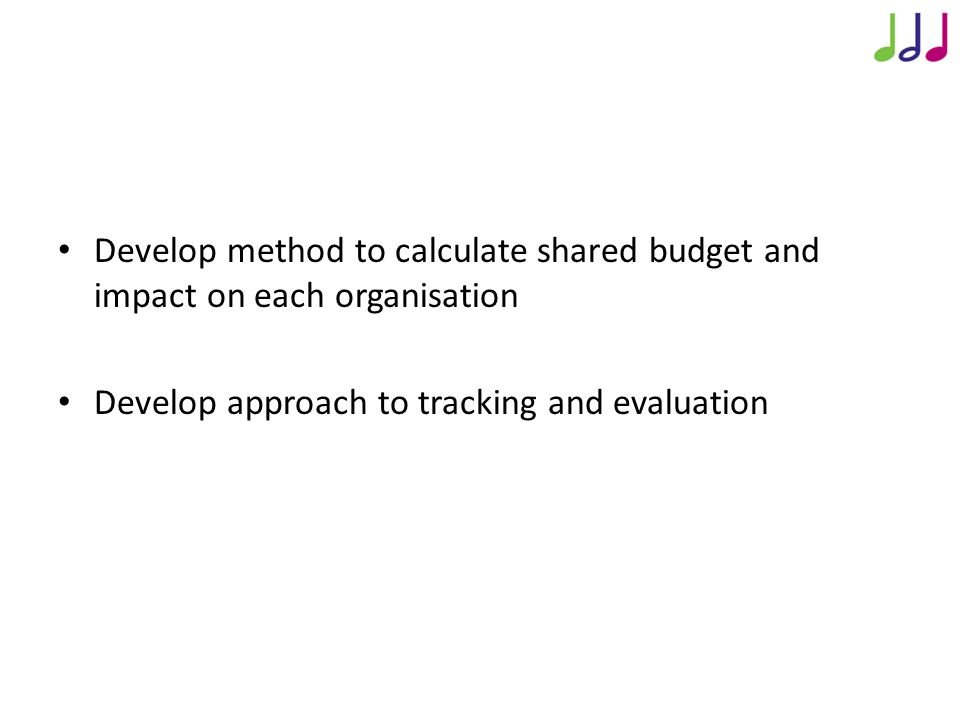 Approach to Analysis Develop method to calculate shared budget and impact on each organisation Develop approach to tracking and evaluation