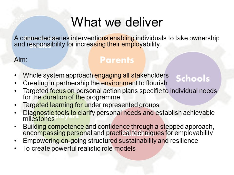 What we deliver A connected series interventions enabling individuals to take ownership and responsibility for increasing their employability.