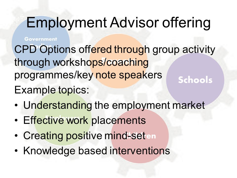 Employment Advisor offering CPD Options offered through group activity through workshops/coaching programmes/key note speakers Example topics: Understanding the employment market Effective work placements Creating positive mind-set Knowledge based interventions