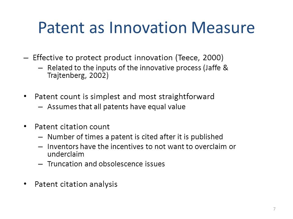 Measuring Innovation: Data 8 European Patent Office (EPO) is a regional patent office Regional patent office Maintains and publishes all-inclusive Worldwide Patent Statistical Database aka PATSTAT (1976 – October 2012) PATSTAT Data from over 100 countries 60 million patent applications; 30 million granted patents, etc.