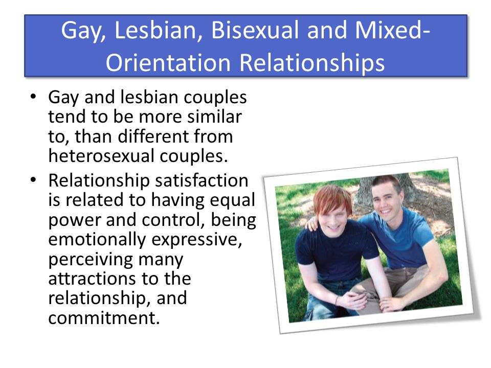 Gay, Lesbian, Bisexual and Mixed- Orientation Relationships Gay and lesbian couples tend to be more similar to, than different from heterosexual coupl