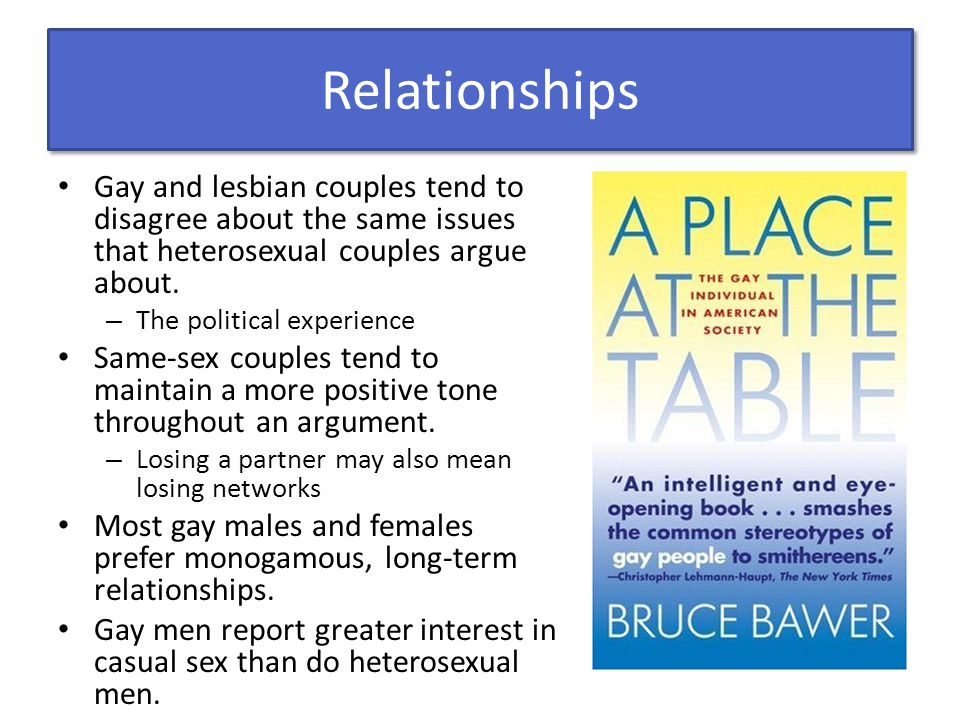 Relationships Gay and lesbian couples tend to disagree about the same issues that heterosexual couples argue about. – The political experience Same-se