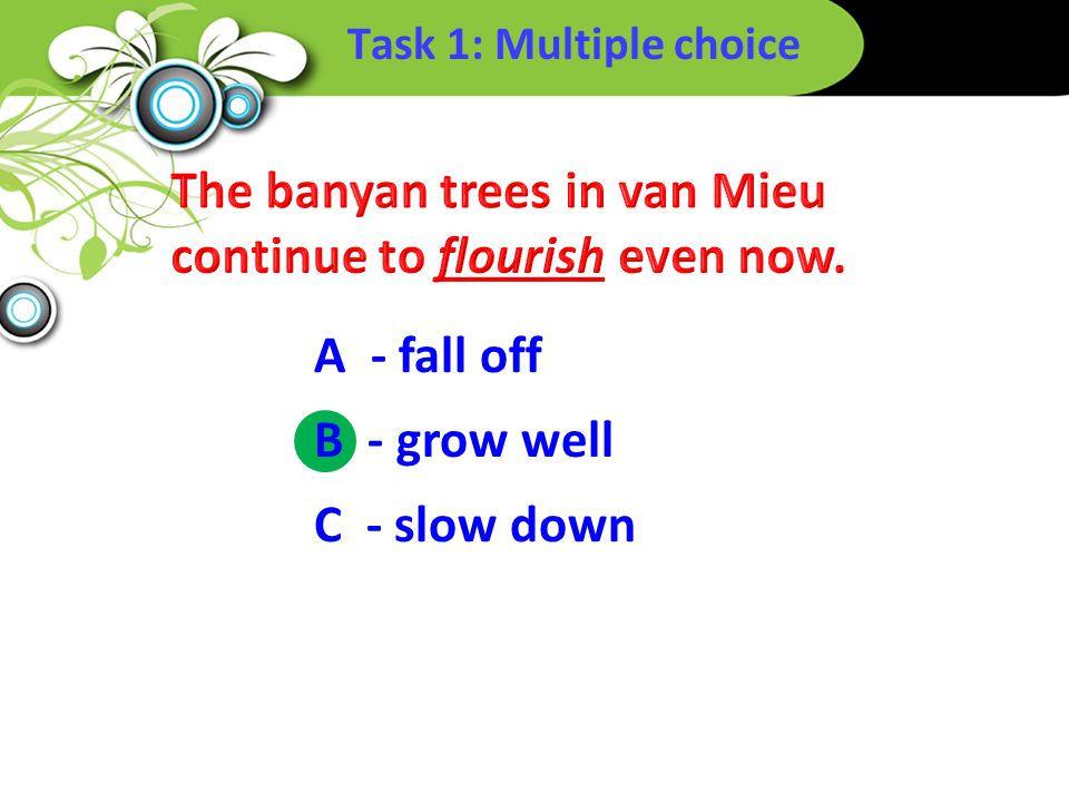 Task 1: Multiple choice B - grow well A - fall off C - slow down