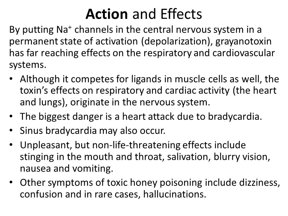 Action and Effects By putting Na + channels in the central nervous system in a permanent state of activation (depolarization), grayanotoxin has far reaching effects on the respiratory and cardiovascular systems.