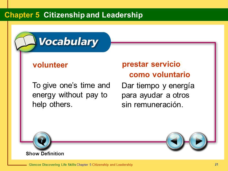 Glencoe Discovering Life Skills Chapter 5 Citizenship and Leadership Chapter 5 Citizenship and Leadership 21 volunteer prestar servicio como voluntari