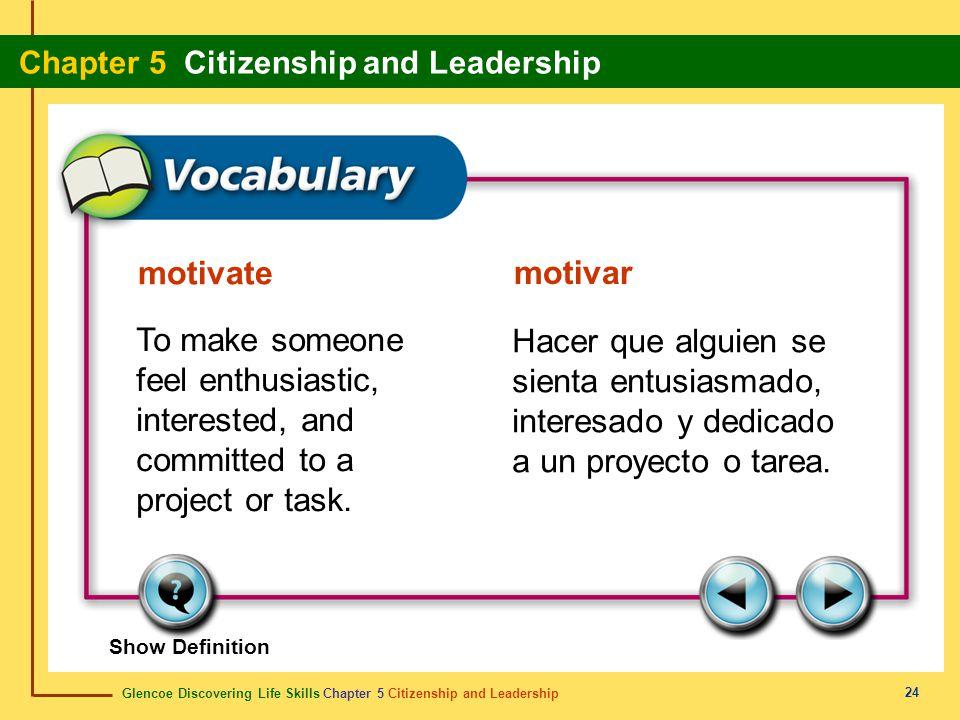 Glencoe Discovering Life Skills Chapter 5 Citizenship and Leadership Chapter 5 Citizenship and Leadership 24 motivate motivar To make someone feel ent