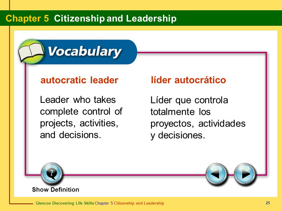 Glencoe Discovering Life Skills Chapter 5 Citizenship and Leadership Chapter 5 Citizenship and Leadership 25 autocratic leader líder autocrático Leade