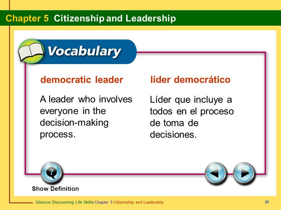 Glencoe Discovering Life Skills Chapter 5 Citizenship and Leadership Chapter 5 Citizenship and Leadership 26 democratic leader líder democrático A lea