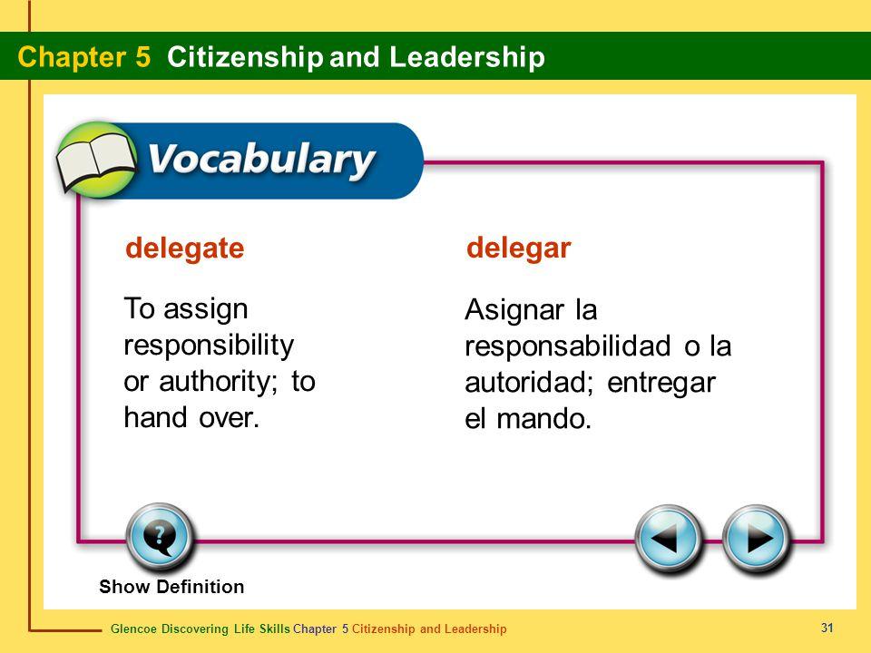 Glencoe Discovering Life Skills Chapter 5 Citizenship and Leadership Chapter 5 Citizenship and Leadership 31 delegate delegar To assign responsibility