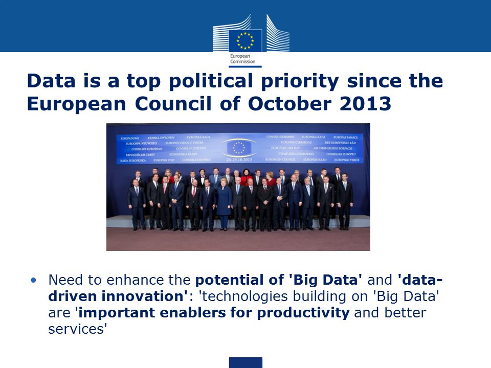 Data is a top political priority since the European Council of October 2013 Need to enhance the potential of 'Big Data' and 'data- driven innovation':