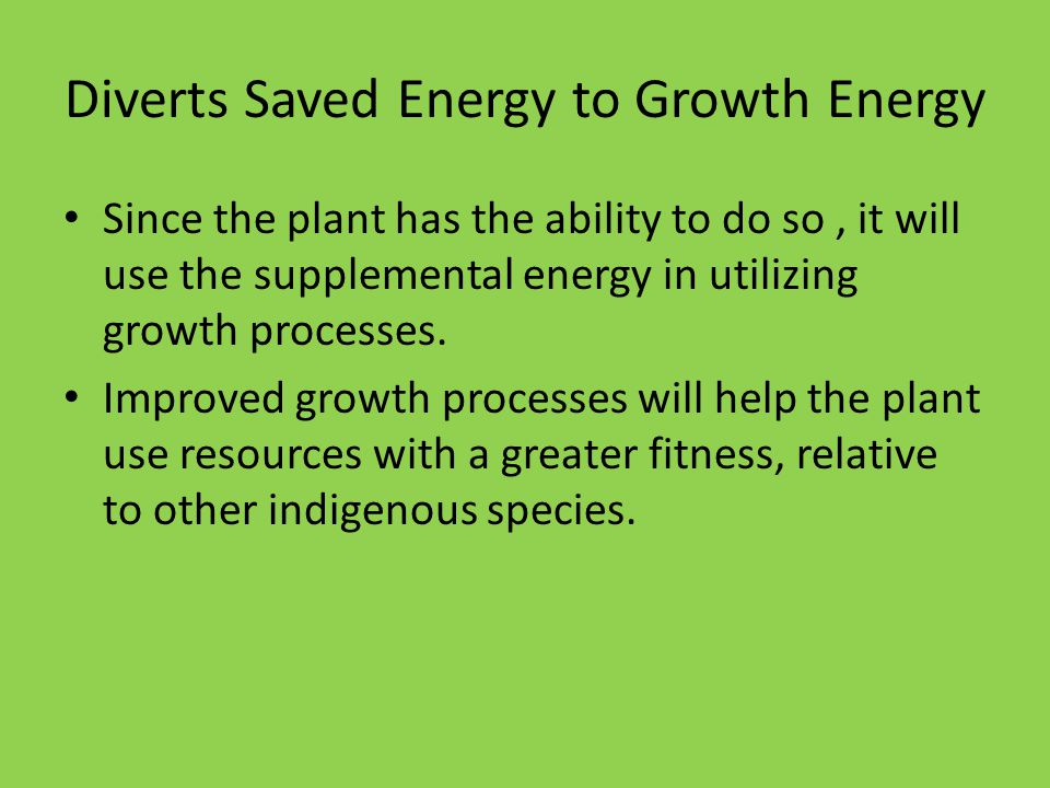 Diverts Saved Energy to Growth Energy Since the plant has the ability to do so, it will use the supplemental energy in utilizing growth processes. Imp