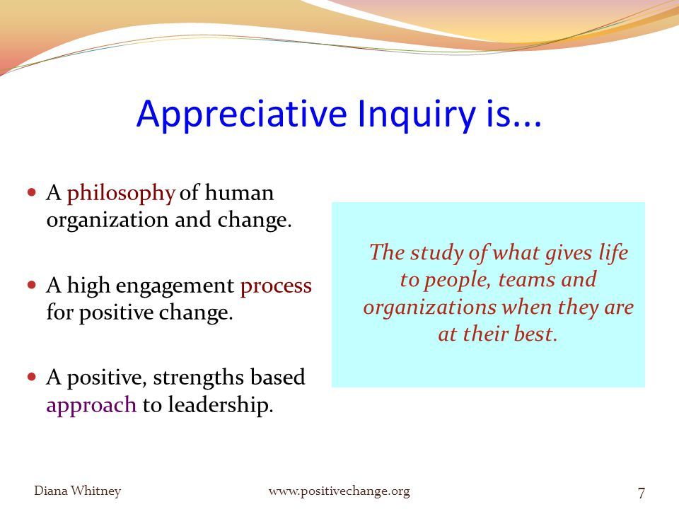 Leadership as a Sacred Trust To be on the Path of Integrity is to be moving, growing and evolving toward wholeness; and to be supporting and enabling others to do the same. Diana Whitney www.positivechange.org 38