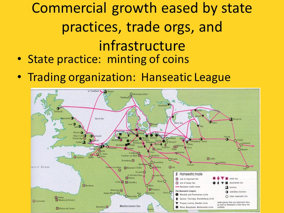 Commercial growth eased by state practices, trade orgs, and infrastructure State practice: minting of coins Trading organization: Hanseatic League