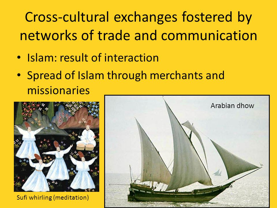 Cross-cultural exchanges fostered by networks of trade and communication Islam: result of interaction Spread of Islam through merchants and missionaries Sufi whirling (meditation) Arabian dhow
