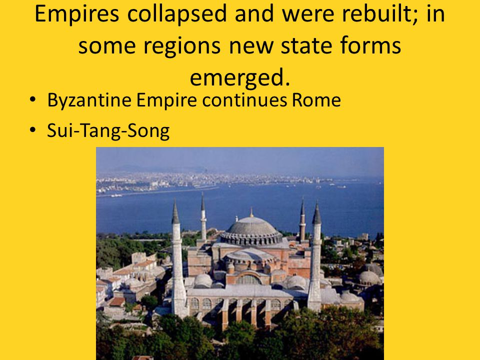 Empires collapsed and were rebuilt; in some regions new state forms emerged.