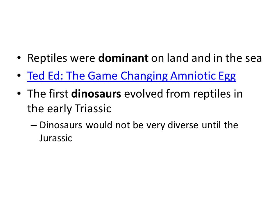 Reptiles were dominant on land and in the sea Ted Ed: The Game Changing Amniotic Egg The first dinosaurs evolved from reptiles in the early Triassic –