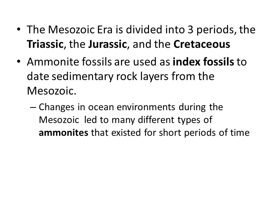 The Mesozoic Era is divided into 3 periods, the Triassic, the Jurassic, and the Cretaceous Ammonite fossils are used as index fossils to date sediment